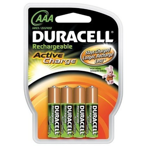 Duracell Rechargeable NiMH AAA Batteries Pre Charged 4-Pack