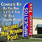 IMPUESTOS/INCOME TAX (Blue/Red) Flutter Feather Banner Flag Kit (Flag, Pole, and Ground Mount) For Sale