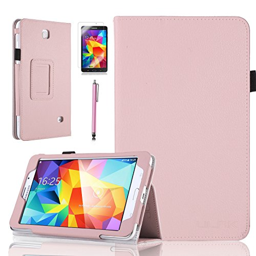 """Tab 4 7.0 Case, ULAK PU Leather Case Cover for Samsung Galaxy Tab 4 7.0"""" T230/T231/T235 Galaxy Tab 4 Nook Book Style Stand Cover Smart Cover with Screen Protector and Stylus (Pink)"""