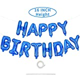 Happy Birthday Blue Balloons Banner,16 Inch Mylar Foil Letters Balloons Reusable Ecofriendly Material for Ocean Theme Birthday Party Decorations(With Ribbon)