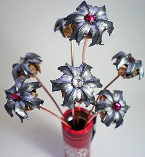 Magnum Vase (Fireman's Firefighter Fire Department Bullet Flower Birthstone Bouquet Expanded Bullet Engraved Personalized in Metal Flashlight Vase Wedding Groomsman)