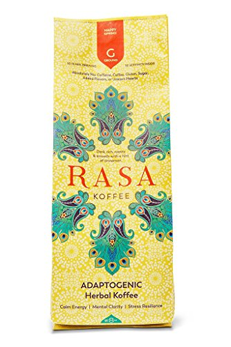 Rasa Koffee Ground Adaptogenic Herbal Coffee (8 Oz) - Organic Coffee Substitute or Additive - Delicious Morning Boost with Great Health Benefits