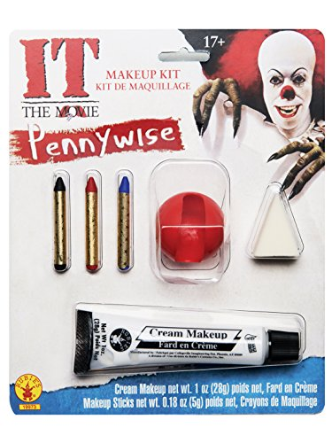 It Scary Clown Costumes (Rubie's Costume Men's It Pennywise Adult Make-Up Kit, Multi, One Size)