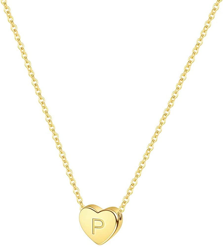 PAERAPAK Letter Initial Necklace for Women 14K Gold Filled Tiny Heart Pendant Letter Necklace Personalized Initial Heart Charm Necklace for Her Kids Child Necklace Birthday Jewelry Gifts