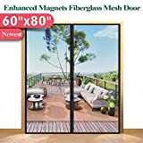 Mkicesky [Upgrade Version] Fiberglass Screen Curtain, Double Patio Mesh Cover for French/Sliding Full Frame Hook&Loop Fit Door Up to 58'x 79' Max-Newest 9.84' Magnet, Black