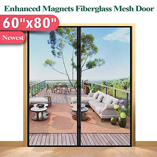 Screen Door Magnetic Strip Closure, Mkicesky Mosquito Screen Mesh for French Door, Fiberglass Double Sliding Door Mesh with Full Frame Hook&Loop Fit Door Size Up to 58