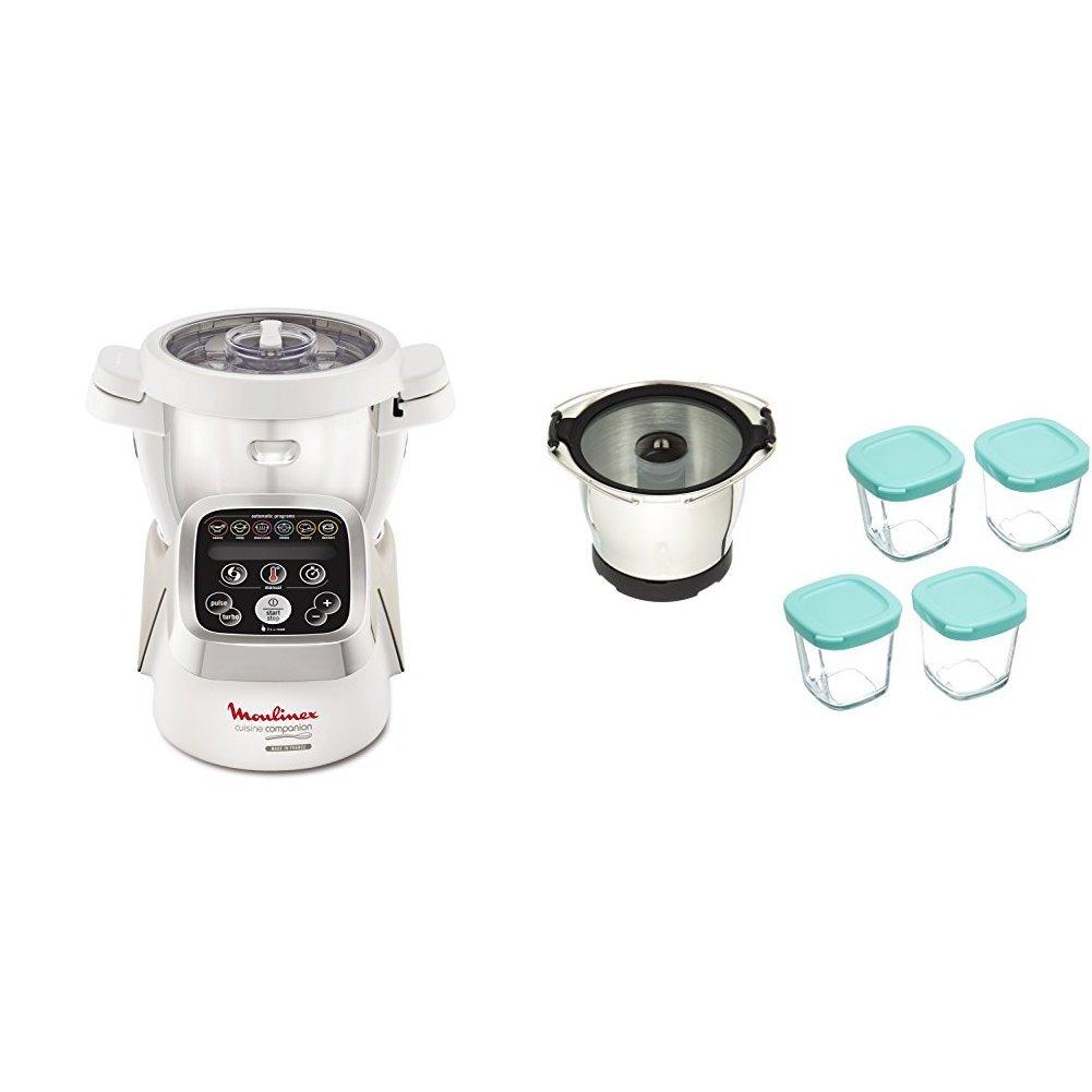 Moulinex i-Companion HF900110 – Robot de cocina Bluetooth 13 programas, 6 accesorios capacidad 6 personas, cuchilla picadora, batidor, mezclador, amasador, triturador, cesta de vapor, bol para bebés