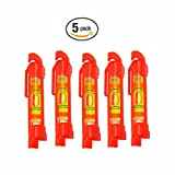 Five Pack of GFNT Spirit Line Level to Level Measurements of Building Trades, Engineering, Surveying, and Metalworking, Among other Applications (5-Pack Red)