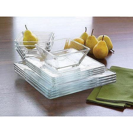 Mainstays 12-Piece Square Glass Dinnerware Set, 4 x Dinner Plates, 4 x Salad Plates, 4 x Bowls by Mainstay