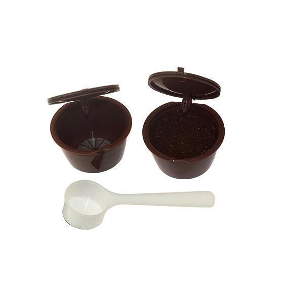 Fligatto Cápsulas recargables con filtro para cafetera Dolce Gusto, incluyen cuchara blanca (color marrón) (1CAPSULES): Amazon.es: Hogar