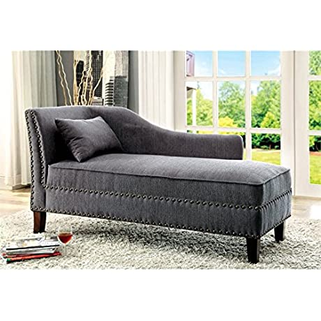 Furniture Of America Jazlyn Modern Fabric Chaise Lounge In Gray