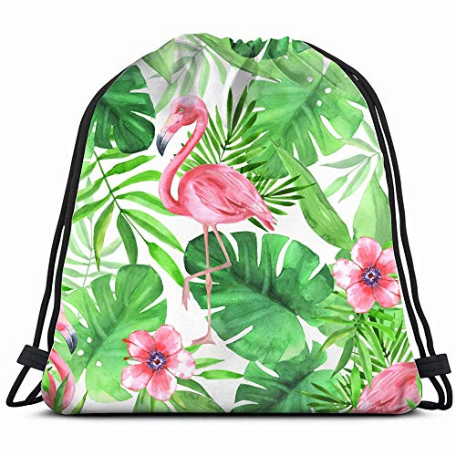 Tropical Pink Flamingos Watercolor Leaves Drawstring Backpack Bag For Kids Boys Girls Teens Birthday, Gift String Bag Gym Cinch Sack For School And Party