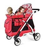 Familidoo Multi-Purpose Toddler Baby Folding Stroller Mini Chariot Wagon with Space fit for 1 Seated & 1 Standing Together, Tiger Red