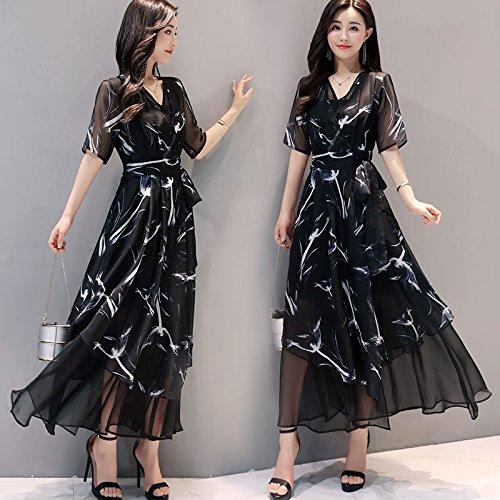 Courtes Longue Robes Manches irrgulires en Jupe V Robe Femme Jupe Noire Mousseline Noir Robe irrgulire M MiGMV xY4UqpBx