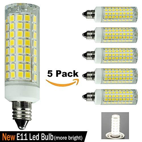 [5-Pack] E11 LED Bulb, 7.5W Equivalent to 100W 75W Halogen Bulb,1000LM Dimmable,Cool White 6000K,Mini Candelabra Bulb,Ceiling Fan Bulb,Chandelier Bulb, T4 E11 110V 120V 130V Bulb - Light 100w 5 Chandelier Bulbs