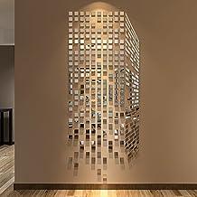 LinPin 290PCS Mirrors Wall Stickers Home/Office Decor DIY Modern Art Mirror Wall Mural Decoration (Small, Silver)