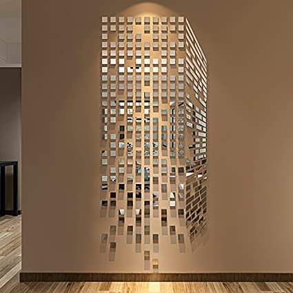Amazon.com: LinPin 290PCS Mirrors Wall Stickers Home/Office Decor ...
