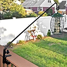 GrayBunny GB-6827 Heavy Duty Deck Hook, 37 Inch Pole, 3 Inch Non-Slip Clamp, With 360 Degree Swivel, For Bird Feeders, Planters, Suet Baskets, Lanterns, Wind Chimes and More!