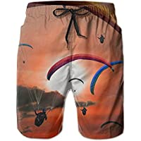 Paraglider Paragliding Fly Sun Sunset Mens/Boys Casual Quick-Drying Bath Suits Elastic Waist Beach Pants with Pockets
