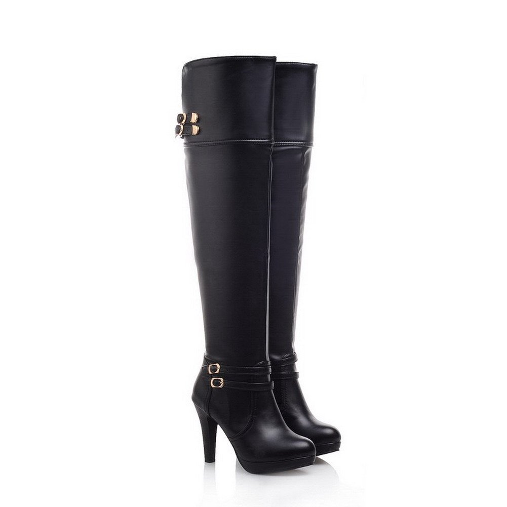 BalaMasa Womens High Heels Above The Knee Solid Black PU Thigh Boots - 5 B(M) US