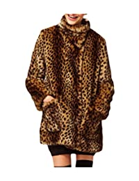 Coolred-Women Trim-Fit Stand Up Collar Leopard Faux Fur Jacket Coat