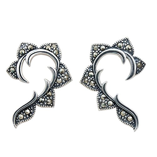 NOVICA Marcasite .925 Sterling Silver Curved Button Earrings, The Dearest'