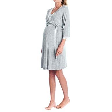 K-youth Ropa Premama Encaje Vestido de Lactancia Maternidad de Noche Camisón Mujeres Embarazadas Ropa de Dormir Premamá Pijama Verano Manga Larga Premamá ...