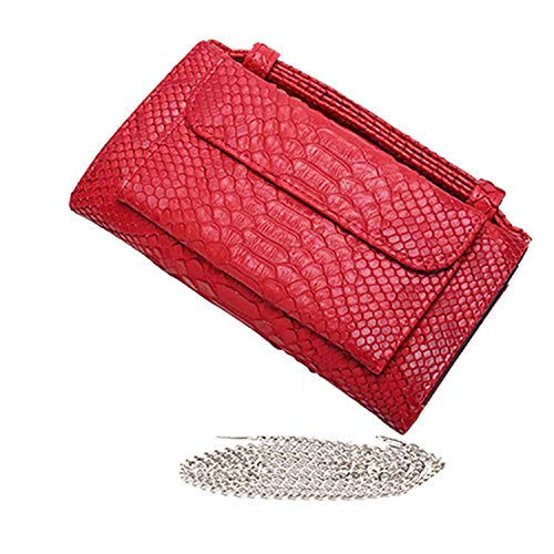 Luxury Genuine Python Leather Hand Bags Cross Body Shoulder Bag Snakeskin Designer Day Clutch Chain Crossbody Bag,Red