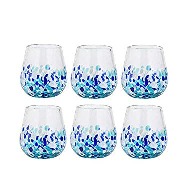 Amici Home 7MCR871S6R Bahia Stemless Wine Drinking Glass 16 Fluid Ounces Blue and White Ombre
