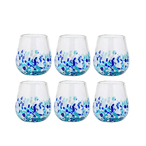 (Amici Home 7MCR871S6R Bahia Stemless Wine Drinking Glass 16 Fluid Ounces Blue and White Ombre)