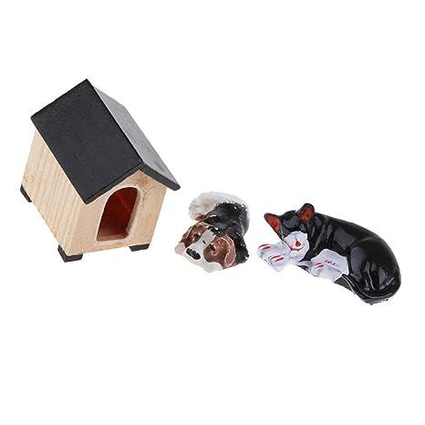 NON MagiDeal Miniatura Gato Cachorro y Casa Decoraciones para 1/12 Dollhouse