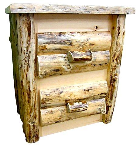 Midwest Log Furniture - Rustic Log Nightstand - 2 Drawer
