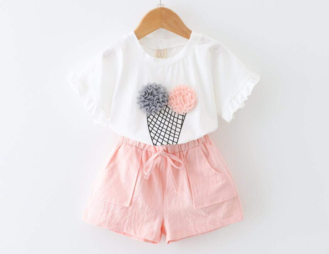 Baby Girl Tops+Dots Short Pants,Childrens Set 2019 Summer New Girls Suit Fashion Printing Ice Cream Cotton Short-sleeved t-shirt Shorts Two-piecem 4T, Pink