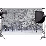 MOHOO 7x5ft 100% Polyster Photo Background Backdrop Snow Trees Christmas Photography Collapsible and Washable Studio Prop Background (Updated Material)No Wrinkle