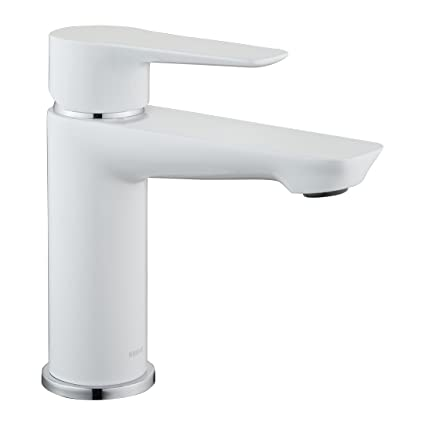 Keewi Single Handle Bathroom Faucet White, Bathroom Sink Faucet Contemporary  Style, Modern Faucet Bathroom