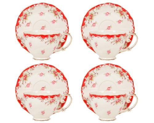 Gracie China Vintage Red Rose Porcelain 7-Ounce Tea Cup a...
