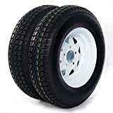 Motorhot 13'' ST175-80D13 LRC ET Bias Trailer Tire 5 Lug 6 Ply Spare Rubber Tires with White Spoke Steel Wheel (Pack of 2)