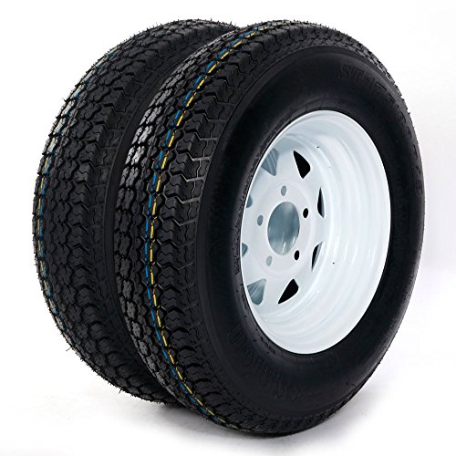 Motorhot 13'' ST175-80D13 LRC ET Bias Trailer Tire 5 Lug 6 Ply Spare Rubber Tires with White Spoke Steel Wheel (Pack of ()