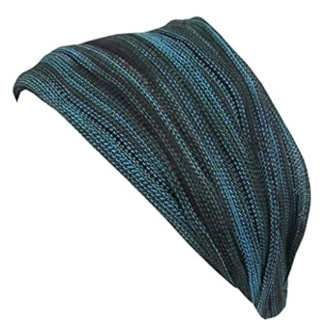 Little Kathmandu Multicoloured Stretchable Cotton Knitted Handmade Double Hair Headband Bandana Dark Green Tie Dye