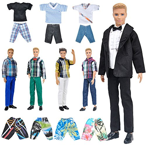 E-TING Lot 10 Items = 5 Sets Fashion Casual Wear Clothes/Outfit with 5 Pair Shoes for boy Doll Random Style (Casual Wear Clothes + Black Suit + Swimwear) (Ken Doll Accessories)