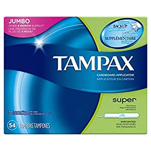 Tampax Cardboard Applicator Tampons, Super Absorbency, 54 Count
