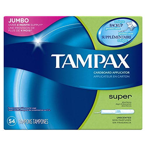 Tampax Cardboard Tampons (Tampax Cardboard Applicator Tampons, Super Absorbency, 54 Count)