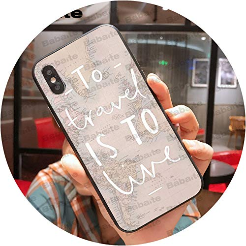 Travel in The World map Plans Black TPU Soft Phone Case Cover for iPhone 8 7 6 6S Plus X XS MAX 5 5S SE XR Mobile Cases fwoeo-in Half,A7,for iPhone 5 5s SE