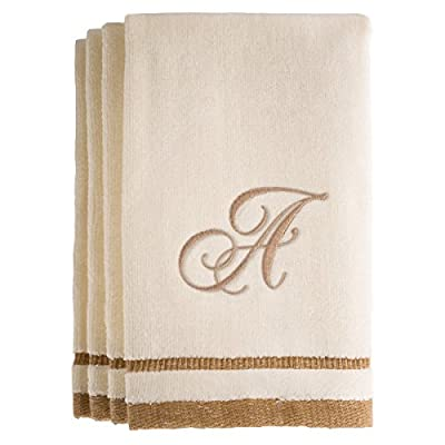 Monogrammed Gifts, Towels Fingertip, 11 x 18 Inches - Set of 4- Decorative Golden Brown Embroidered Towel - Extra Absorbent 100% Cotton- Personalized Gift- For Bathroom/ Kitchen/ Spa