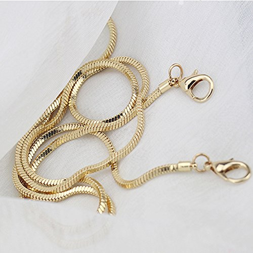 Small Square Copper Purse Shoulder Cross Body Handbag Bag Chain Strap Replacement(Gold, 47'') by Florawang