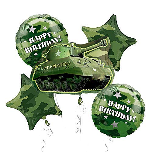 Army Tank Camouflage Party Supplies Birthday Balloon Bouquet Decorations]()