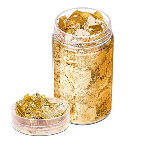 Gold Flakes for Resin, Paxcoo Gold Foil for Nails, Gold Foil Flakes Imitation Gold Leaf for Jewelry Resin, Nails and Jewelry Making, 5 Grams