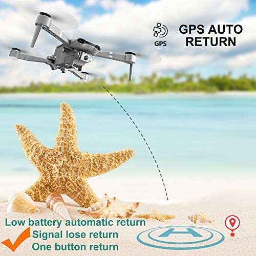 4DRC F3 GPS Drone 4K with FPV Camera Live Video,Foldable Drone for Adults,RC Quadcopter for Beginners,with Auto Return Home, Follow Me,Dual Cameras,Waypoints, Long Control Range,1 Extra Battery+Pack 518HKFVNURL