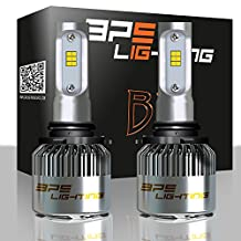 BPS Lighting B2 LED Headlight Bulbs Kit w/Clear Arc Beam 100W 16000LM 6000K - 6500K White CSP LED Headlight Conversion for Replace Halogen Bulb Headlights - (2pcs/set) (9006/HB4)