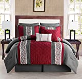 VCNY Home Queen Size Complete Bed-in-A-Bag in Charcoal/Red Elegant Pleated 8 Pc Set w/Decorative Pillows